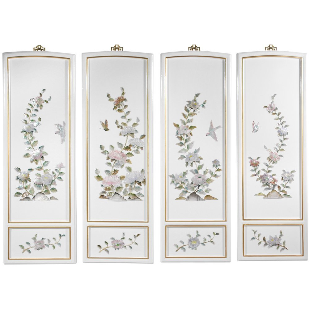 Oriental Furniture Birds and Flowers Wall Plaques by ORIENTAL FURNITURE