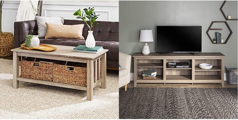 Walker Edison Furniture Company Rustic Wood Rectangle Coffee Accent Table Storage Baskets Living Room, 40 Inch, Driftwood & Flat-Panel TV's up to 70%22 | 6 Storage Shelves | Driftwood
