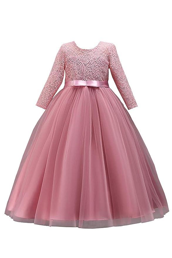 2019 Mädchen Prinzessin Kleid Tüll Abendkleid Spitzen Ballkleid Festzug lang 120-170
