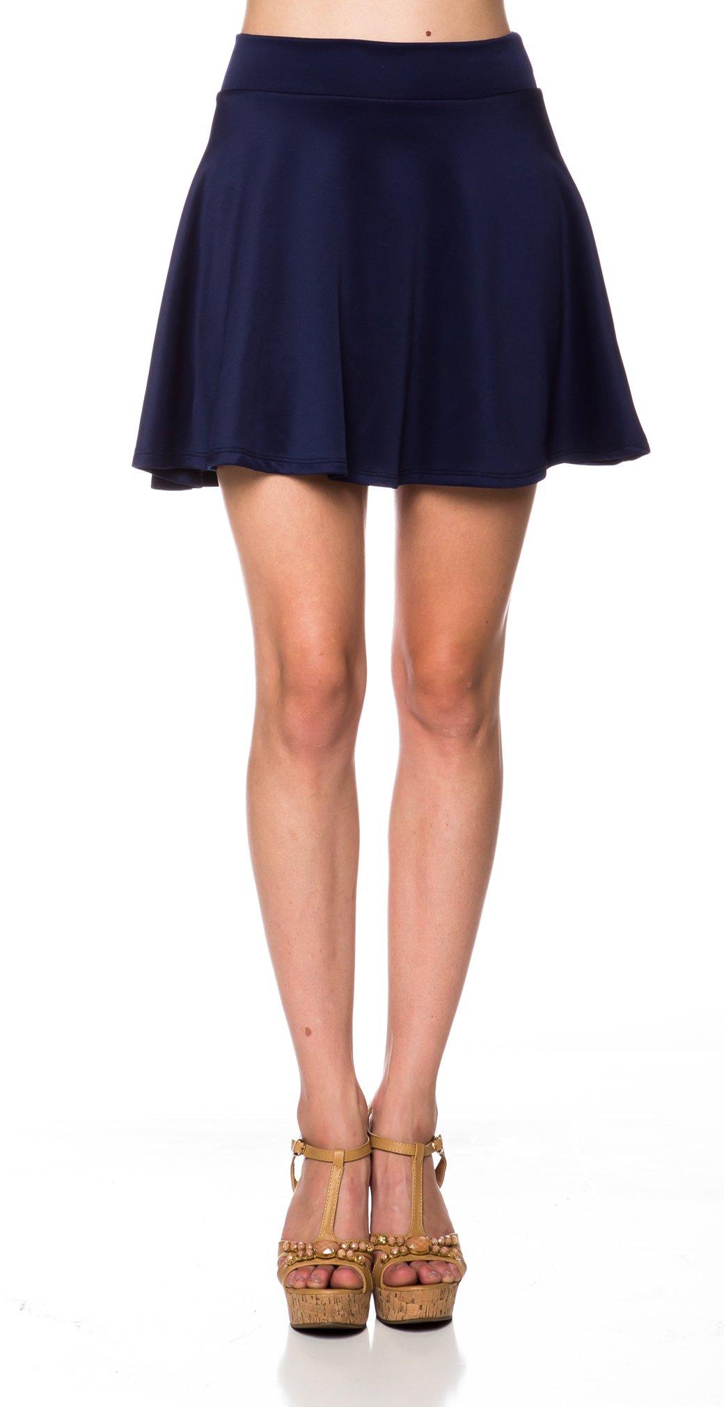 A.S Lovely Drape High Waist Flare Skater Mini Skirt (Medium, Navy)