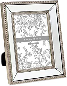 Laura Ashley 5x7 Champagne Mirror Bead Picture Frame, Classic Mirrored Frame with Beaded Border, Wall-Mountable, Made for Tabletop Display, Photo Gallery and Wall Art, (5x7, Champagne)