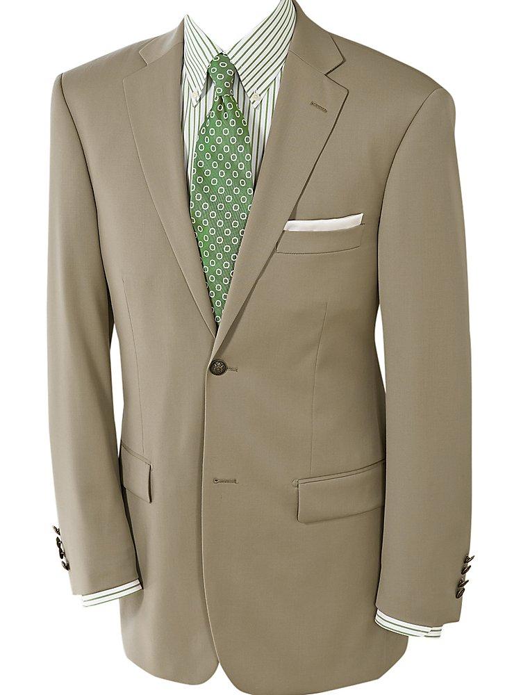 Paul Fredrick Men's 100% Wool Two-Button Travel Blazer British Tan 43 Short