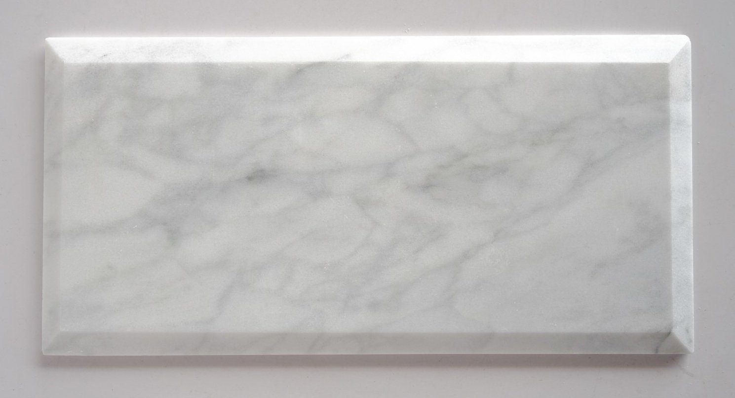 Bianco Venatino Marble 6X12 Deep - Beveled & Polished Subway Tile - STANDARD QUALITY - Lot of 20 Sq. Ft.