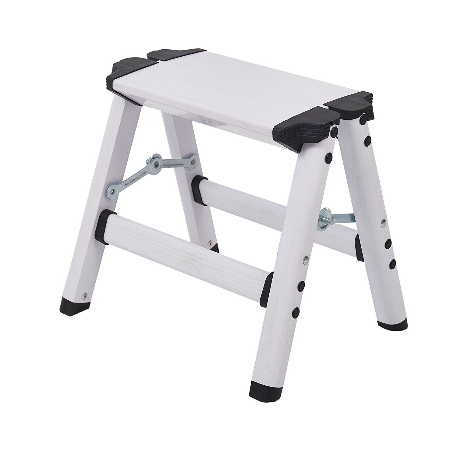 Livebest Folding 2 Step Stool Light Weight Aluminum Step Ladder with a Secure Standing Platform for Office Home 330 lbs Capacity (12'' H)