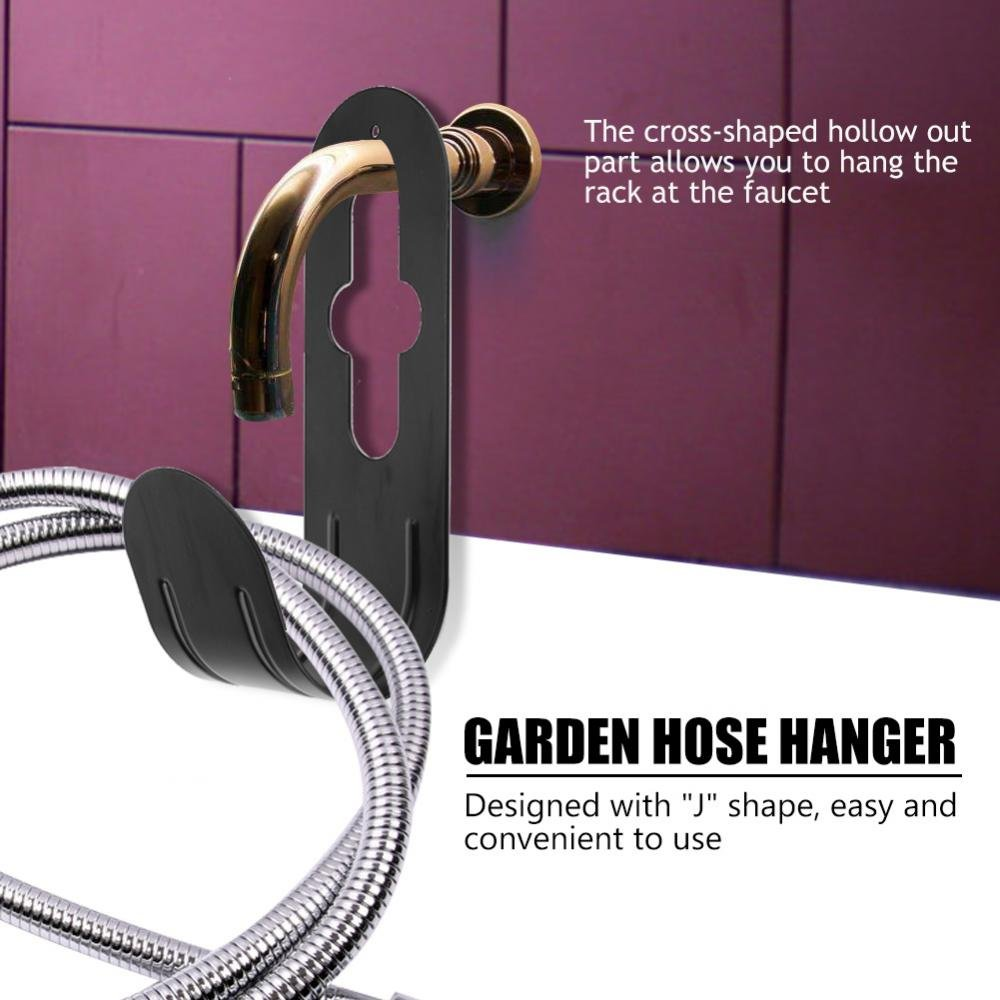 TOPINCN Hose Holder Black Iron Metal Sturdy Durable Convenient Home Garden Hanger Tidy Mounted Watering Pipe Rack Organizer