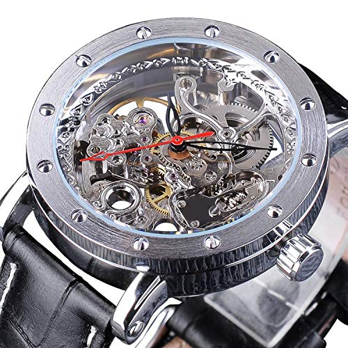 - Best Men's Luxury Skeleton Automatic Mechanical Self-Wind Leather Silver Case Analog Watch