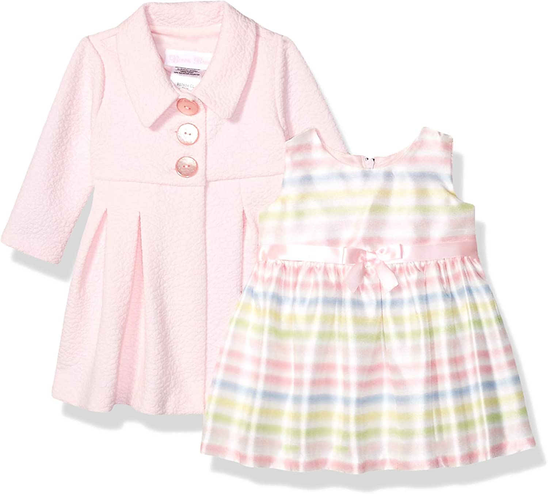 Pink Bonnie Jean Girls Baby Polka Dot Fleece Coat and Hat Set