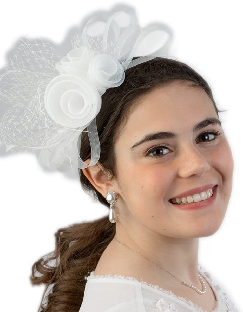 Home-X Women Fascinator Hat Black Veil with Rosette and Feathers