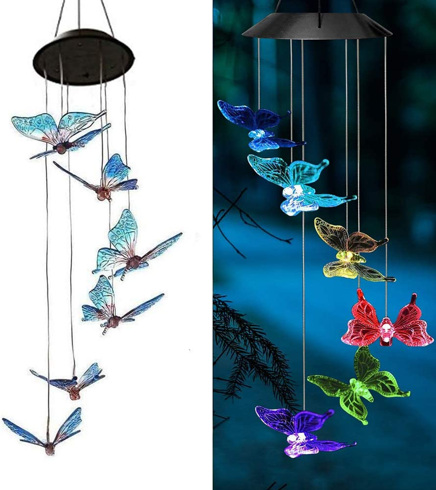 AVEKI Solar Wind Chimes Outdoor, Color-Changing Solar Mobile Wind Chime Waterproof Solar Powered LED Hanging Lamp for Outdoor Garden Festival Decoration (Butterfly)