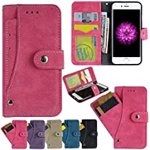 iPhone 7 Case, iPhone 7 Case, Firefish PU Leather Flip Book Folio Purse Cover with Muiti Credit Card Slots Cash Holder for Apple iPhone 7 2016 -Rose