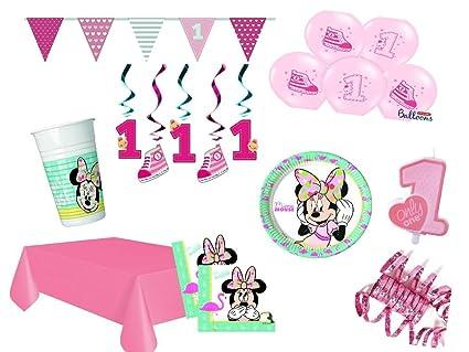 XXL Set Decoración Fiesta Primer Cumpleaños Minnie Mouse ...