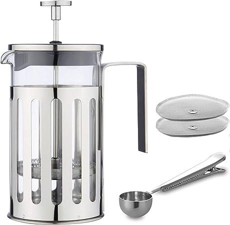 MW Creations Cafetera de émbolo con marco, mango y tapa en acero inoxidable, Prensa Francés 8 taza / 1000 ml: Amazon.es: Hogar