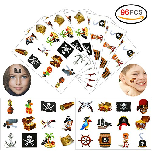 Konsait Pirate Tattoo(96PCS), Pirate Temporary Tattoo Fake Neverland Pirated Cannon Powder Anchor Wheel Jake Captain Tattoo Body Sticker for Pirate Birthday Party Favors Supplies for Kids Boys (Girl Pirate Makeup Halloween)