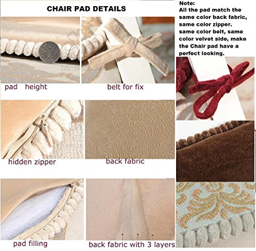 Sideli -2pc Classic Decorative Chair pad Seat Cushion with Memory Filling and 2 Belt for Fix 16''x16'' (2, peony-coffee) by Sideli (Image #3)