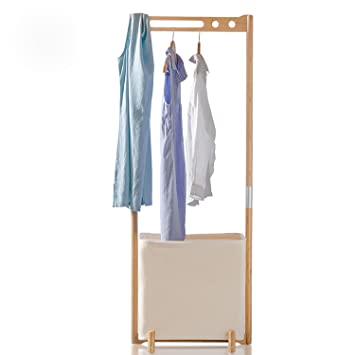 segarty wood garment racks clothes drying rack with foldable laundry hamper portable hanger