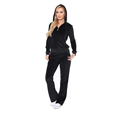 Women s Athletic Soft Velour Zip Up Hoodie   Sweat Pants Set Jogging Suit  (S 37e29941e861