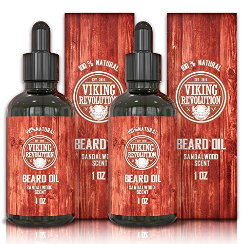 Beard Oil Conditioner – All Natural Sandalwood Scent with Organic Argan & Jojoba Oils – Softens & Strengthens Beards and Mustaches for Men (Sandalwood, 2 Pack)