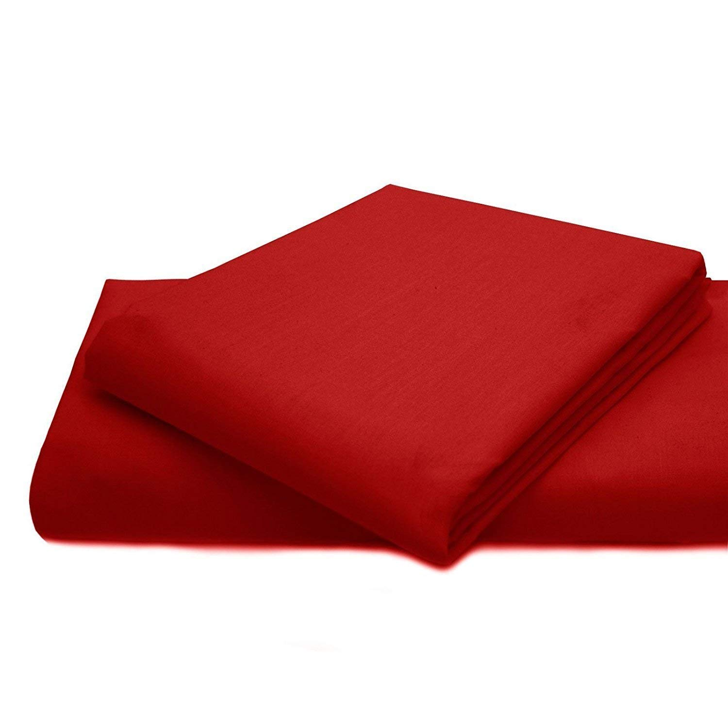 Myrtle Collection Hotel Luxury { 1500-TC } 1-Piece Flat (Top) Sheet Authentic Heavy Soft Egyptian Cotton Flat Sheet Available in Many Attractive Color's, Queen Size, Red Color { Style : Solid }