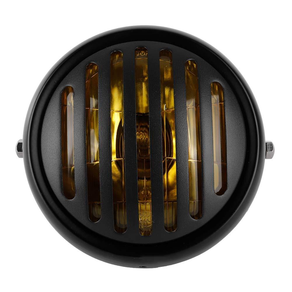 blanc Duokon 12V Phare Avant Moto R/étro avec Couverture de Grille LED Phare de Moto Rond /à Ampoule Projecteur de Moto /à LED