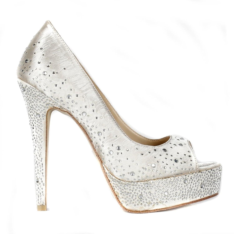 Lacitena Femenino Ladies Peeptoe Talones Plataforma Rhinestones Wedding Prom Party Shoes Tamaño 37 EU