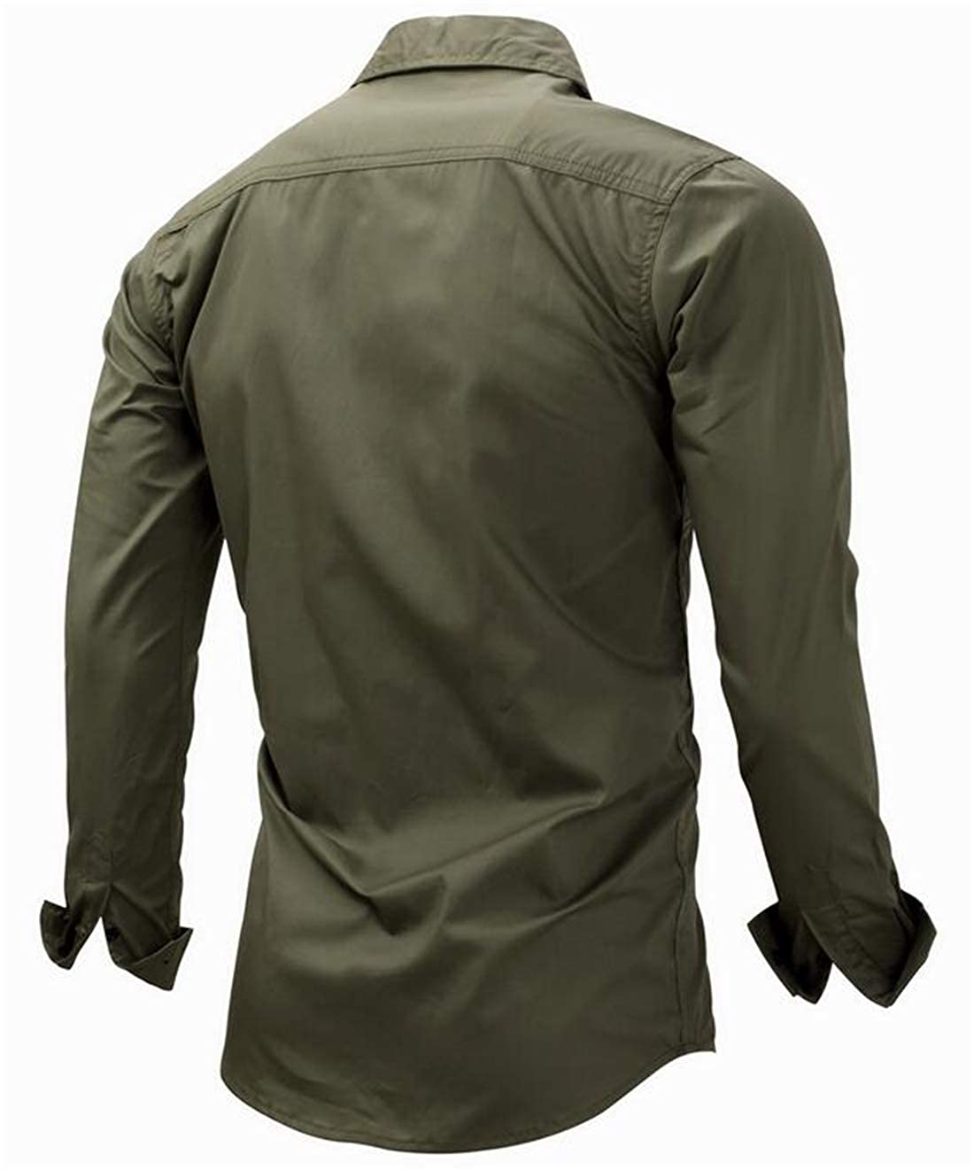 Gnao Mens Casual Zip-Up Outdoor Solid Button Down Long Sleeve Military Army Shirt