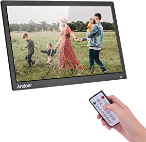 Andoer Digital Photo Picture Frame 17.3 inch Desktop Album 1600x900 Resolution 16:9TN LED Display Screen Support Calendar Clock Time Setting Music Movie with IR Remote Control Stand Bracket Gift