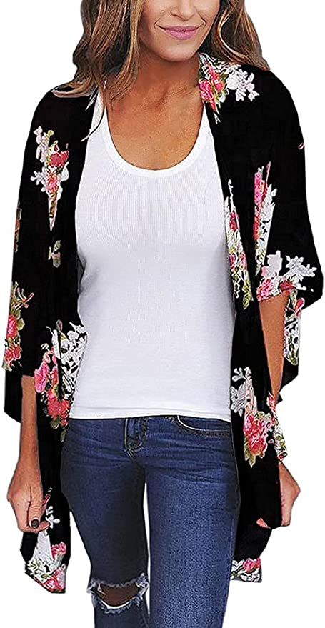 Women's Floral Print Puff Sleeve Kimono Cardigan Loose Cover Up Casual Blouse Tops   Amazon