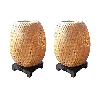 Lampes De Chevet En Bambou Tresse Double Peau Variateurs D