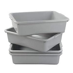 Xyskin Plastic Rectangle Washing up Bowls Basins Utility Tub Trays, Light Grey, 4 Packs