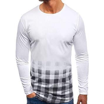 3a0a22ea6c555 LuckyGirls Camisetas Color de Degradado Cuadros Camisa Casual Poleras Polo  Moda Sudaderas Chándales Mangas Largas de los Hombres  Amazon.es  Deportes  y aire ...