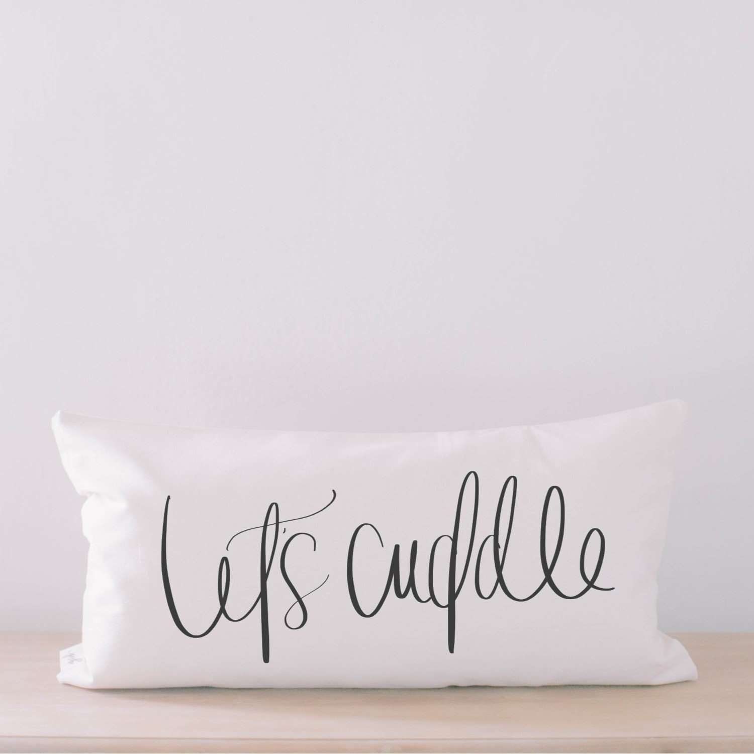Lumbar Pillow - Let's Cuddle, Handmade in the USA, calligraphy, home decor, wedding gift, engagement present, housewarming gift, cushion cover, throw pillow