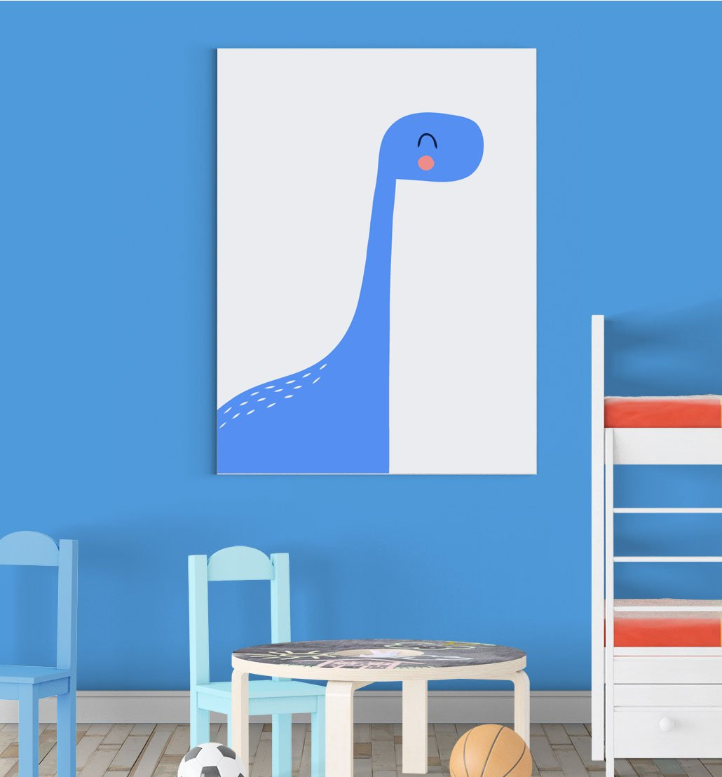 Blue Blushing Dinosaur Nursery Bedroom Boys Girls Wall Decor Art Poster Print Inspired Walls®