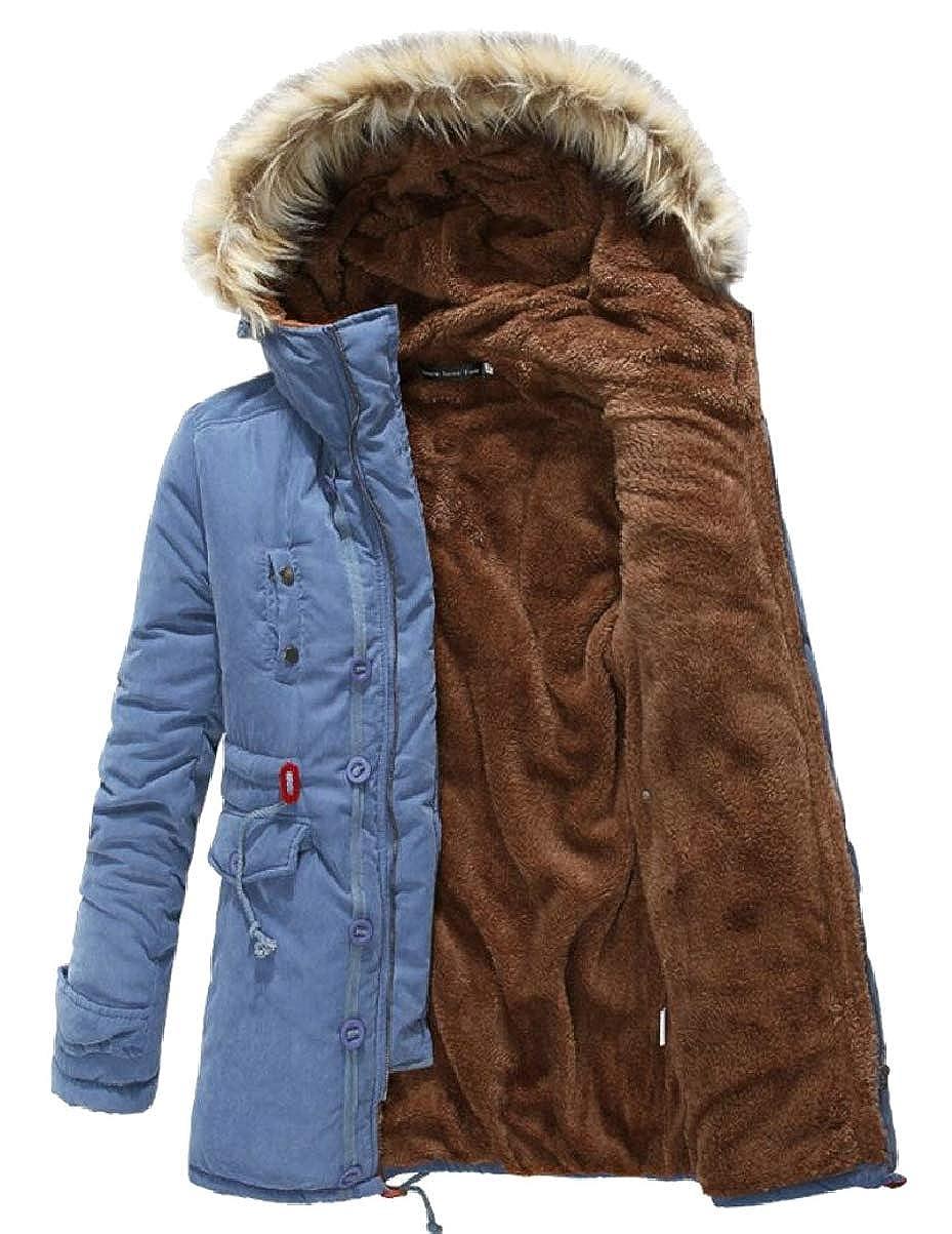 CBTLVSN Mens Winter Hoodies Faux-Fur Collar Mid Long Padded Zip Down Jacket Coat