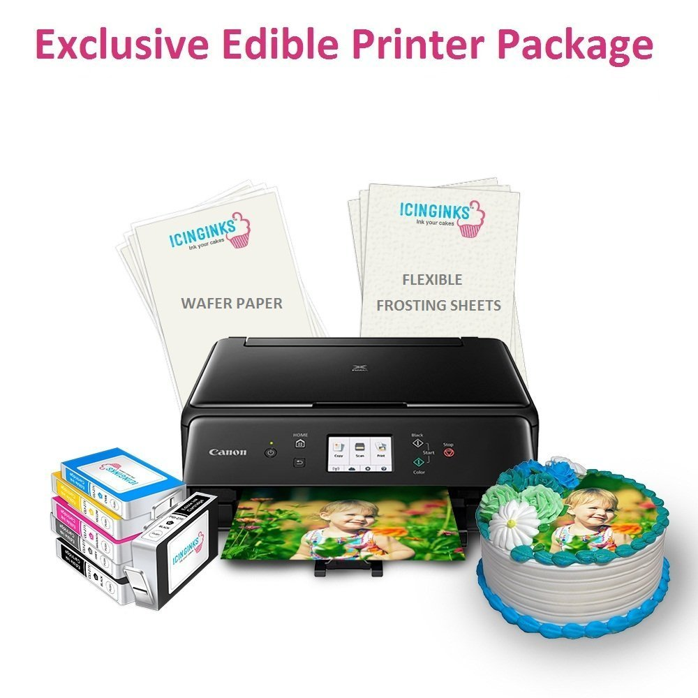 Icinginks Edible Printer Exclusive Package With 2 Types Of 110 Assorted Edible Sheets -Wafer Paper, Flexible Frosting Sheets, Refillable Edible Cartridges Best Wireless Canon Edible Image Cake Printer