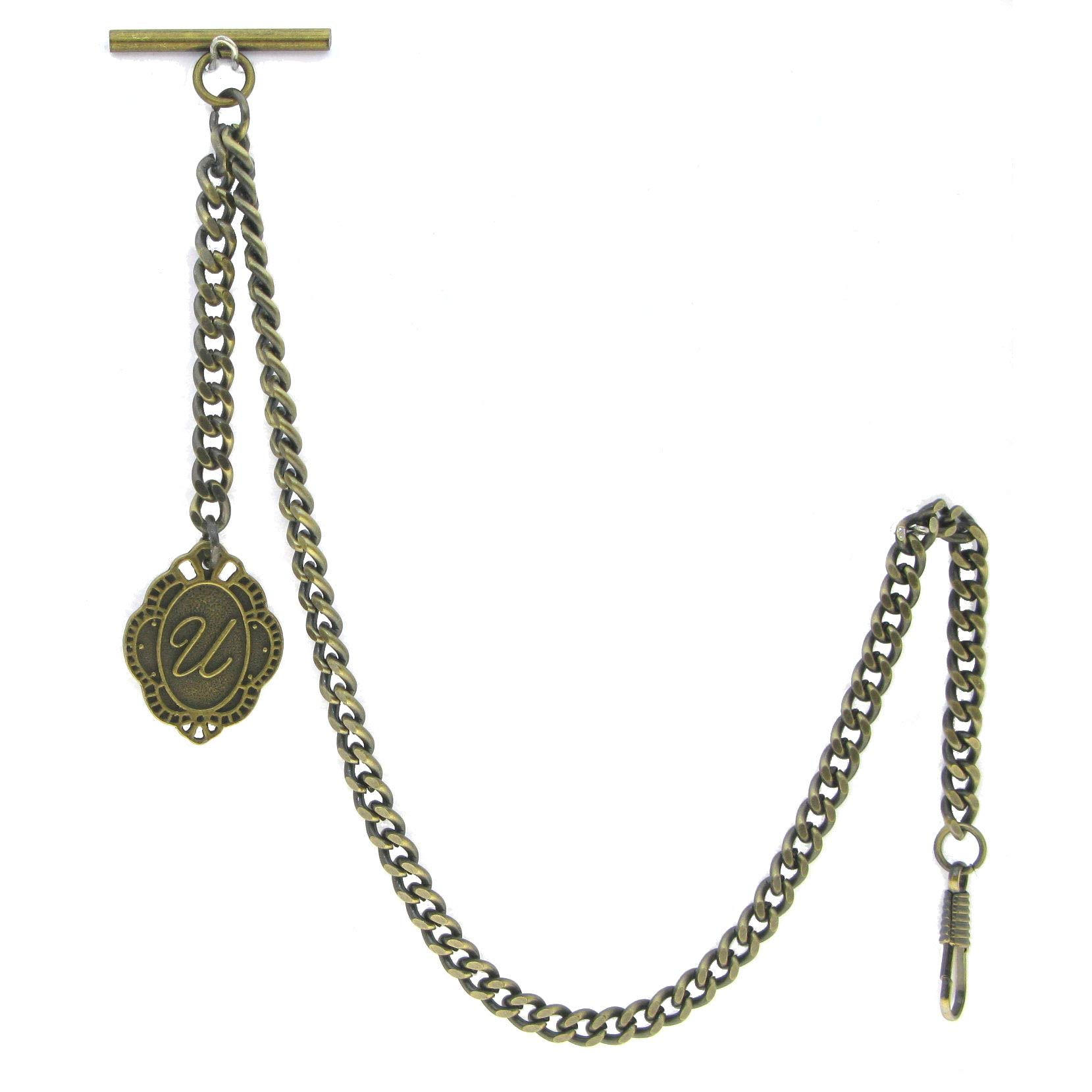 Albert Chain Pocket Watch Curb Link Chain Antique Brass Color + Alphabet U Initial Letter Fob T Bar AC91