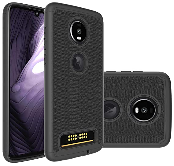 super popular 46d99 67dd7 Moto Z4 Play Case, Motorola Z4 Play Case Slinco Durable Armor and Resilient  Shock Absorption Case for Motorola Moto Z4 Play (Black)