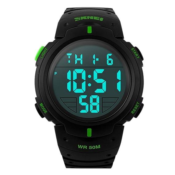 Panegy - Reloj LED Digital Resistente al Agua Múltiples Funciones Alarma Cronómetro para Hombres - Verde Negro: Amazon.es: Relojes