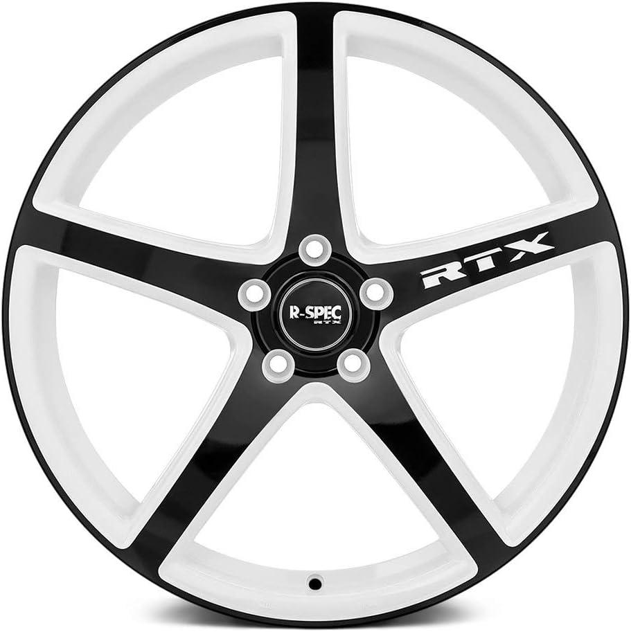 RTX ILLUSION Custom Wheel White with Black Face Rim 5x114.3 Bolt Pattern 45 Offset 17x7.5 73.1mm Hub