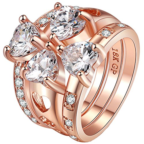 FENDINA Women 18K Rose Gold Plated Solitaire Ring Sparkly 4 Heart Cut Cubic Zirconia Stones Wedding Engagement Promise Rings for Her Set of 2 Size 5-10