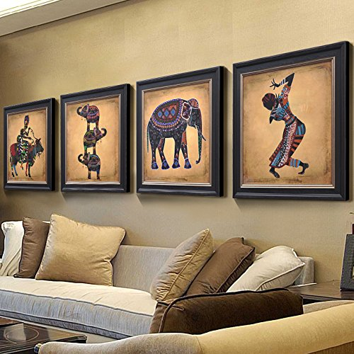 Patined Southeast Asian Antique Inn Hotel Dining Room Hotel Room Hotel Room Parlor Bathroom Thailand Elephant Decoration Painting,4 Pair from Patined