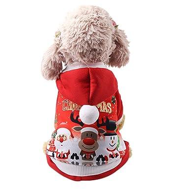 Ropa para Navidad Mascotas, ❤ Zolimx Pijamas para Perros Mono Perrito Abrigo de Invierno Abrigo para Mascotas Ropa para Perros Pequeños, ...