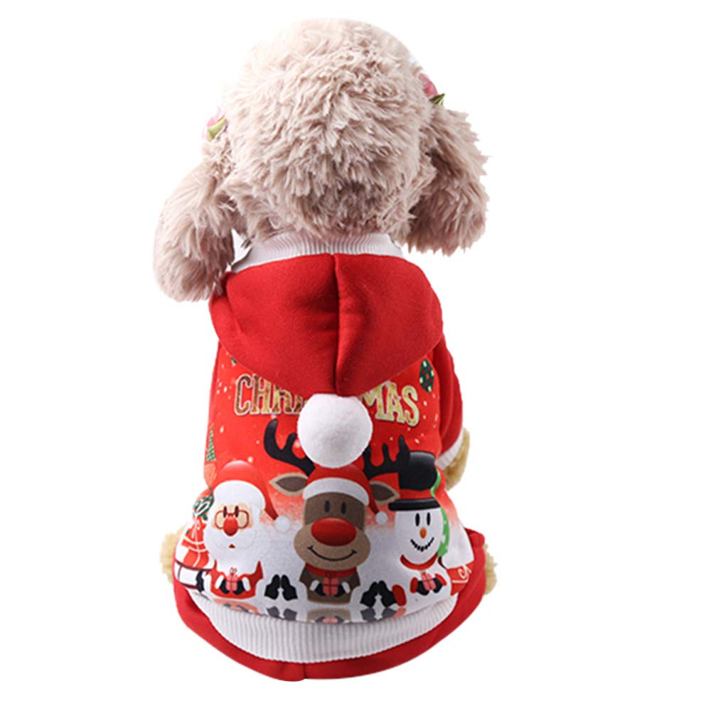 ETHELDING Christmas Xmas Pet Puppy Hoodied Sweatshirts Dog Clothes Costume with Santa Hat Winter Warm