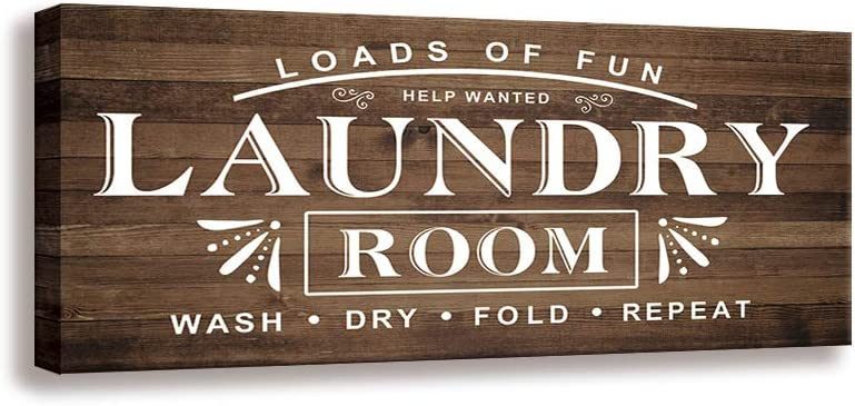Shang Pin Laundry Wall Art Sign - Vintage Family Bathroom Laundry Rule Canvas Printing Laundry Antique Wood Wall Decoration Plaques (8 X 16 inch, Laundry-D)