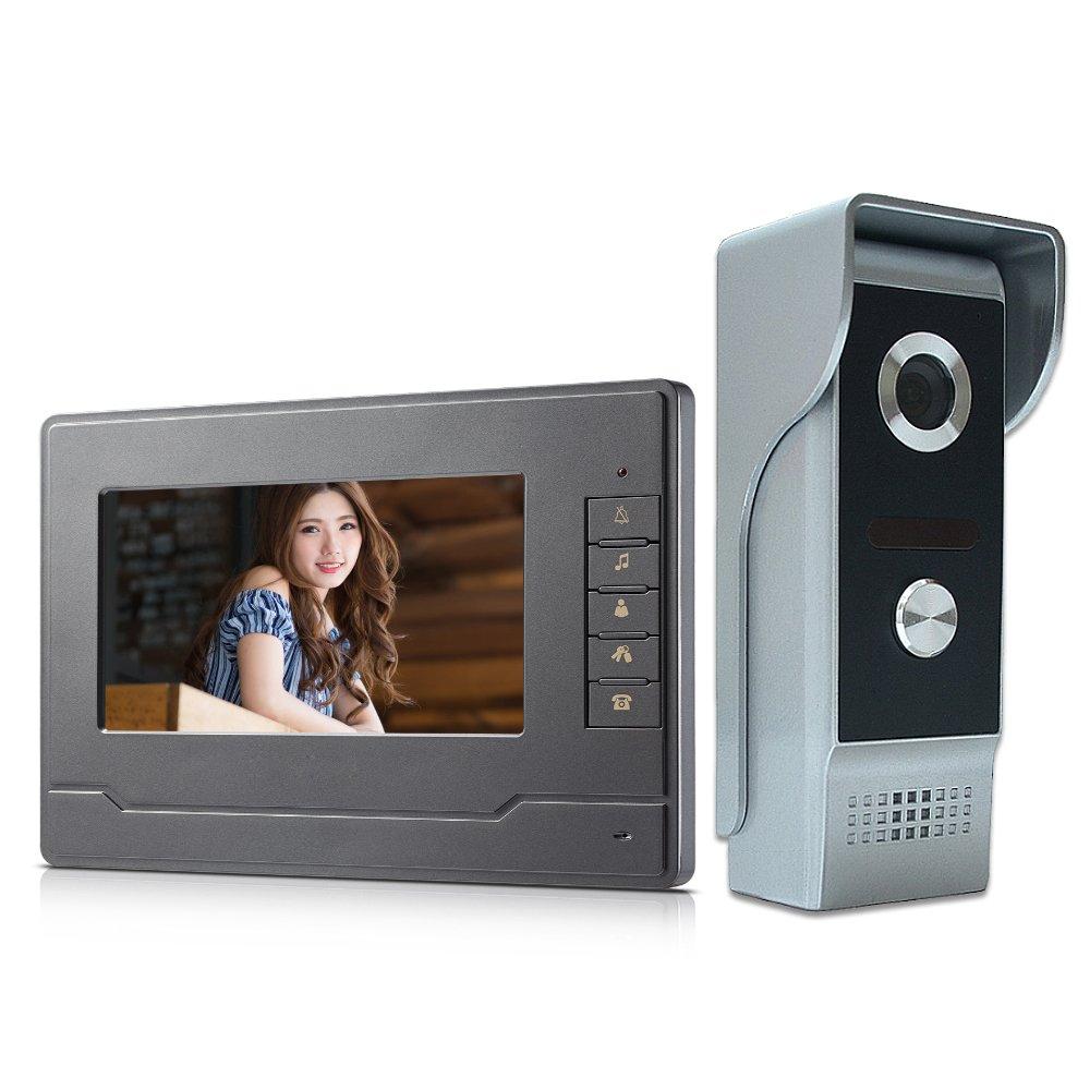 AMOCAM Video doorphone System, 7'' Monitor Wired Video Intercom Door Phone Doorbell HD Aluminum Alloy Camera kits Support Unlock, Monitoring, Dual-way Intercom for Villa House Office Apartment