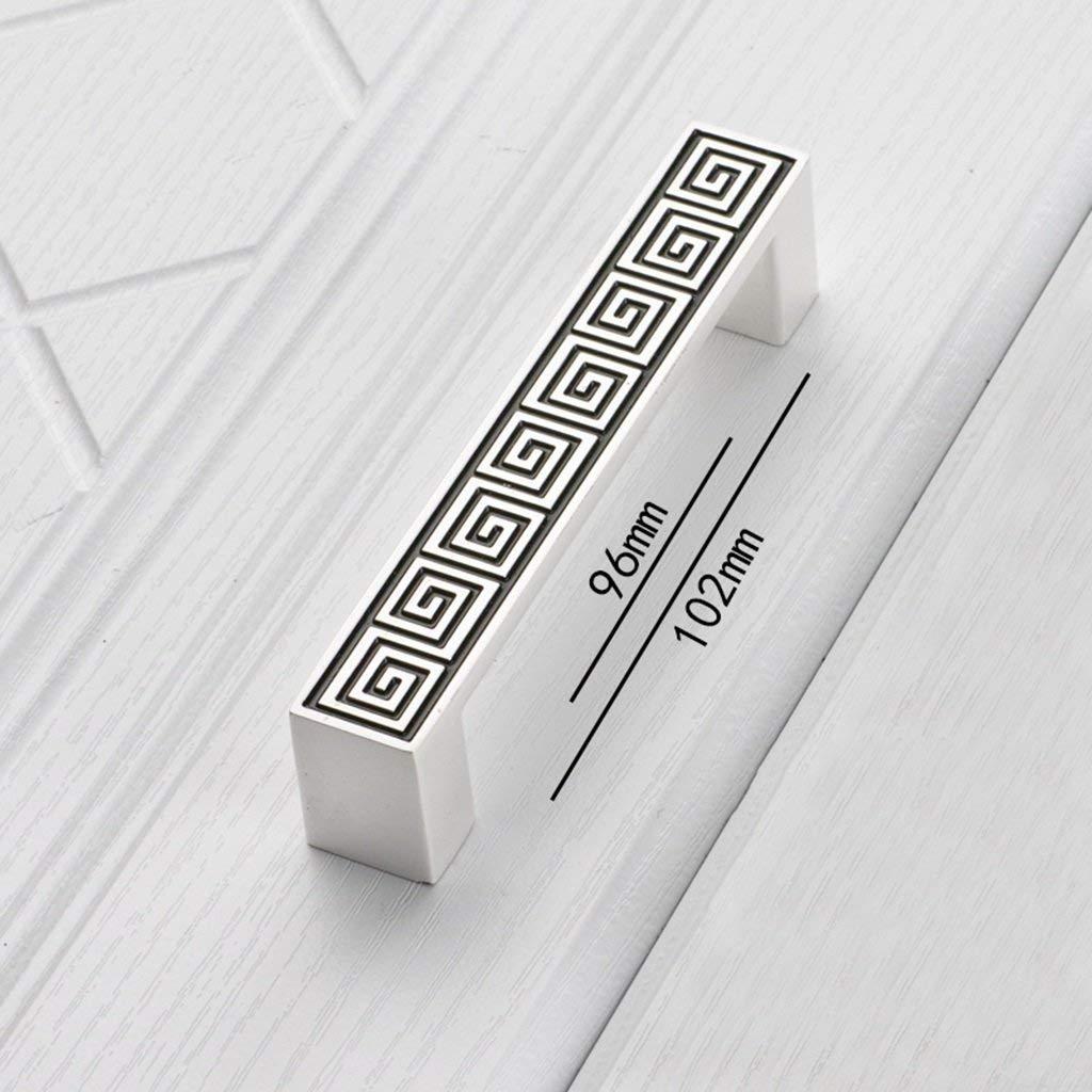 Ajhgqejfw Handle, Zinc Alloy Durable Quality Lengthen Handle Handle European, Hole Center 96mm-128mm (Color: Silver Black, Green Center-128mm) (Color : Silver Black, Size : Hole center-96mm)