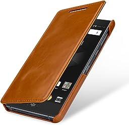 StilGut Book Type Case, custodia per BlackBerry Motion a libro booklet in vera pelle, Cognac