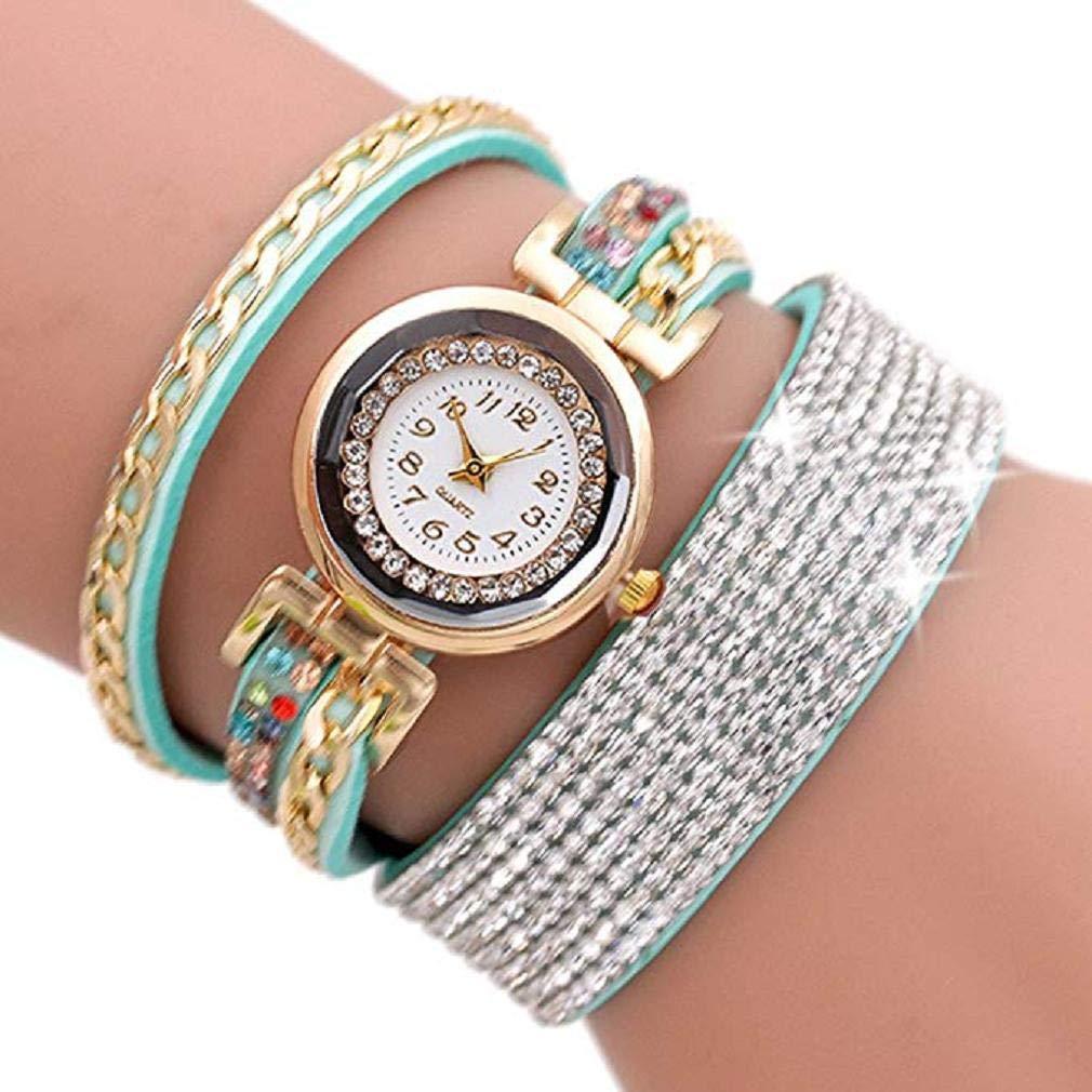 Scpink Women Watches,Fashion Rhinestone Bracelet Watch Quartz Watch Ladies Watches Female Watches Round Dial Leather Wrist Watch (Menta Verde): Amazon.es: ...