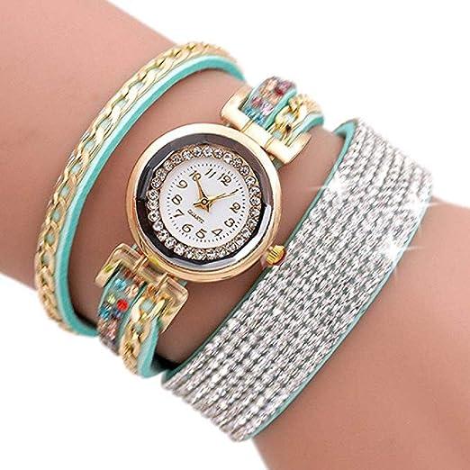 ... Watches,Fashion Rhinestone Bracelet Watch Quartz Watch Ladies Watches Female Watches Round Dial Leather Wrist Watch (Menta Verde): Amazon.es: Relojes