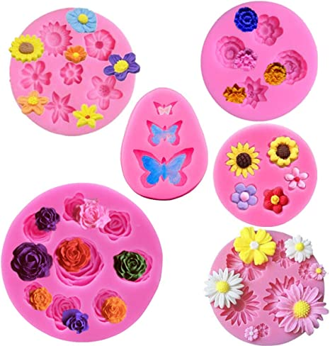 Soap Craft Decoration 5 Pieces Flower Fondant Cake Molds Butterfly Silicone Baking Molds Silicone Chocolate Candy Molds for Making Cake Polymer Clay Fudge Chocolate