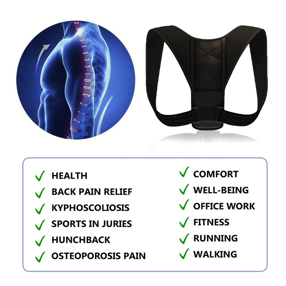 Posture Corrector, Adjustable Back Posture Corrector for Women & Men, Effective and Comfortable Posture Brace for Slouching & Hunching, Shoulder & Neck Pain Relief with Perfect Posture Corrector